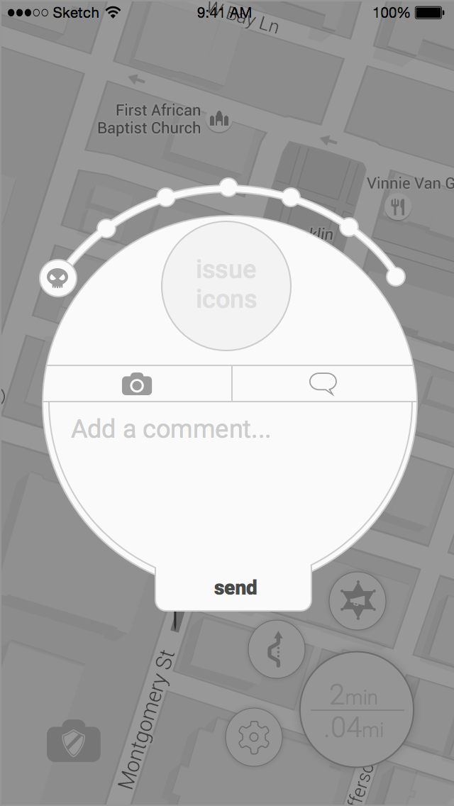 Digital lo-fi mockup of user interface for reporting issues to the city.